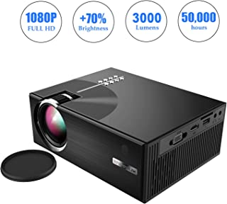 OKEUS 3000 Lumens Video Projector 1080P Portable LED Projector HD Home Theater with Stereo Speaker, Support HDMI VGA AV USB TV, Perfect for Android TV Box/Amzon Fire Stick, Black