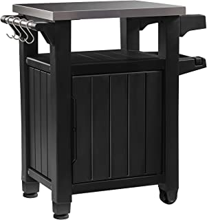 Keter Unity Portable Outdoor Table with Storage Cabinet and Stainless Steel Top, Graphite