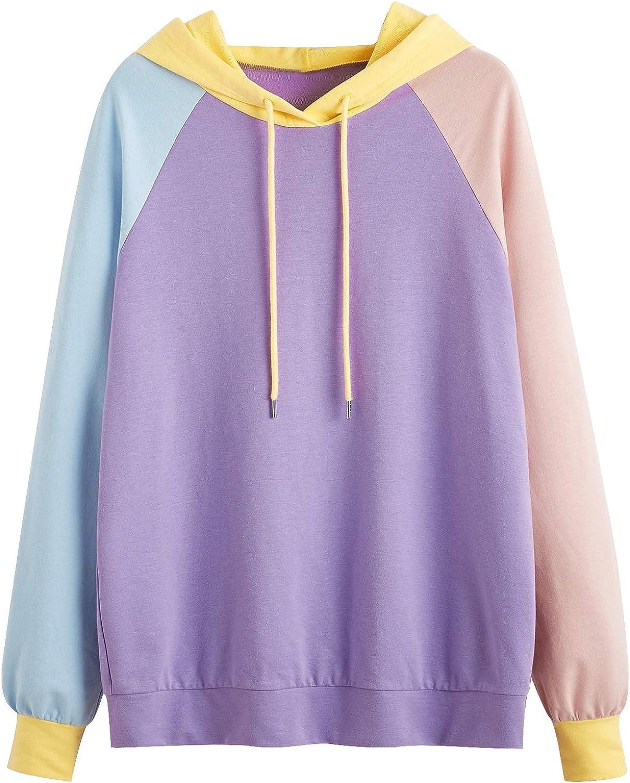 DIDK Women's Casual Long Sleeve Colorblock Drawstring Hoodie Sweatshirt