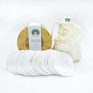 Reusable Make-up Remover Pads by La Madre Earth - 20 Premium Quality Organic Bamboo Cotton Pads in Handcrafted Bamboo Box - Eco Friendly, Washable, Zero Waste, Bio Degradable   For All Skin Types