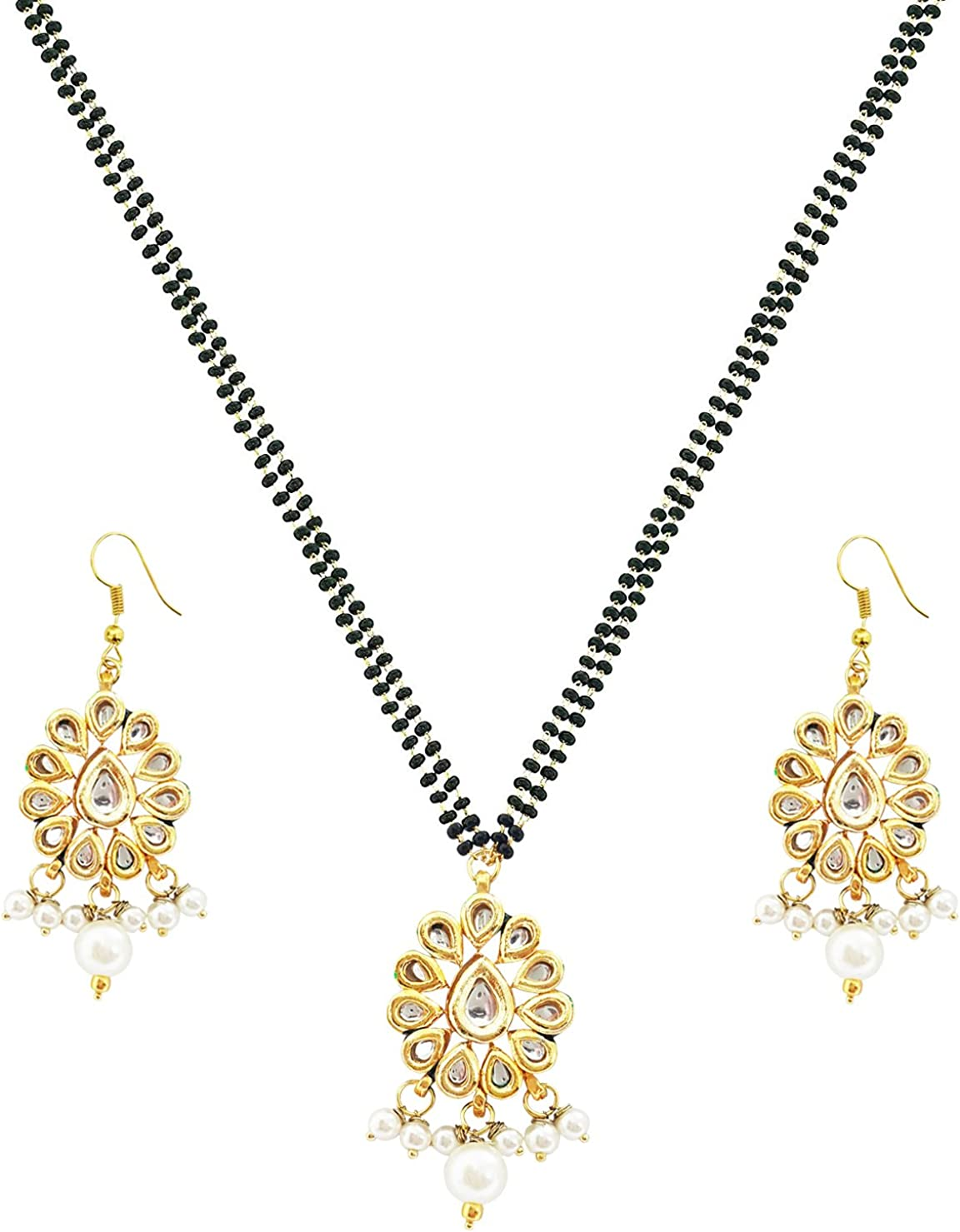 Mehrunnisa Contemporary Kundan Pendant with Mangalsutra Necklace & Earrings Set for Women (JWL1559)