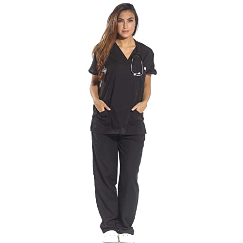 Just Love Womens Scrub Sets Six Pocket Medical Scrubs (V-Neck with Cargo Pant