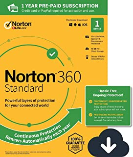 NEW Norton 360 Standard – Antivirus software for 1 Device with Auto Renewal – Includes VPN, PC Cloud Backup & Dark Web Monitoring powered by LifeLock [PC/Mac/Mobile Download]