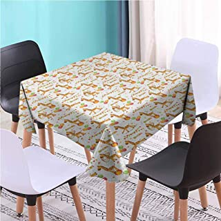 Zara Henry Design Giraffe Striped Square Table Cloth, Circus Pattern with Playful Cartoon Characters Colorful Flags Balloons Hula Hoops Multicolor Dinning Tablecloths, 40x40 Inch