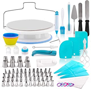 140 Pcs Cake Decorating Supplies Kit - Cake Decorating Supplies with Metal Cake Turntable Stand, Frosting Bags and Tools, ...