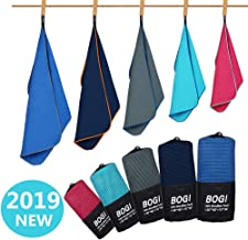 BOGI Microfiber Sport Travel Towel Set -S M L XL- Quick Dry, Super Absorbent, Non Slip Yoga Towel- for Beach Bath Golf Gym Camp Hiking Baby Pool Large Towel with Hand Hair Towel + Carrying Bag & Clip