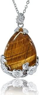 KISSPAT Teardrop Necklace Natural Crystal Stone Pendant on 20