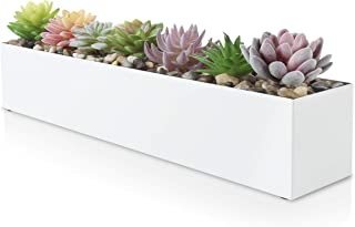 """Modern White Rectangle Planter Box   16"""" Metal Planter Perfect as a Succulent Planter   Narrow Planter Box for Table or Wi..."""