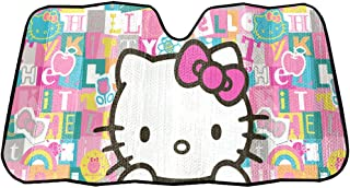 Hello Kitty Sanrio with Pink Bow Tile Auto Car Truck SUV Vehicle Universal-fit Front Windshield Sunshade - Accordion Sun Shade