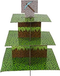 Mining Fun Cupcake Stand & Pick Kit, Pixel Decorations, Mining Parties, Birthdays, Party Supplies, Cake Decorations, 3 Tier Cardboard Cupcake Stand
