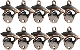 KEKLLE Set of 10 Bottle Opener Wall Mount Rustic Beer Cap Opener Coke Bottle Wine Soda Openers Vintage Look with Mounting Screws for Kitchen Cafe Bars