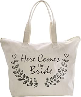 ElegantPark Here Comes The Bride Tote Bag for Wedding Gifts Zip Canvas Cotton