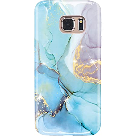 DAMONDY 3D Shiny Marble Pattern Hybrid Back Soft TPU Ultra-Thin Shock Absorption Slim Protective Case Phone Cover for Samsung Galaxy S7 Edge-Black White Galaxy S7 Edge Case