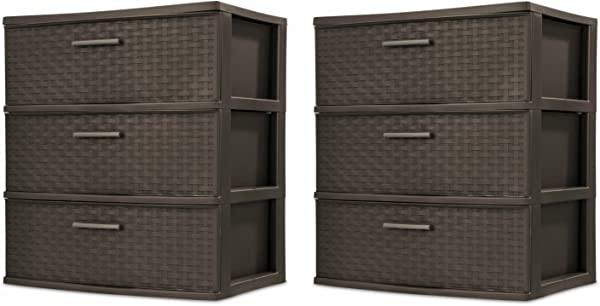Sterilite 25306P01 3 Drawer Wide Weave Tower Espresso Frame Drawers W Driftwood Handles 2 Pack