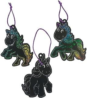 Fun Express - Unicorn Magic Scratch Ornaments - 24 pc - Craft Supplies - Magic Scratch - Ornaments - 24 Pieces