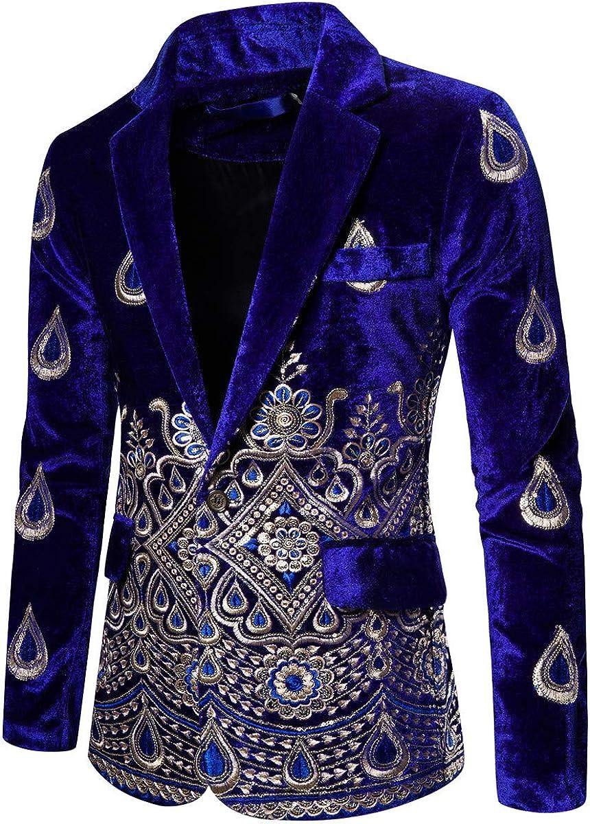 Max 71% OFF Mens Choice Velvet Embroidery Tux Jacket Slim Blazer Suit Cas Dress Fit