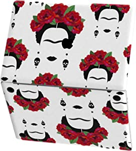 Mertak Vinyl Skin Compatible with MacBook Air 13 inch Mac Pro 16 15 Retina 12 11 2020 2019 2018 2017 Keyboard Art Clear Top Mexican Feminist Red Wreath Laptop Cover Flowers Women Skull Trackpad