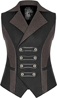 Punk Rave Mens Steampunk Military Waistcoat Vest Black Brown Gothic VTG Uniform