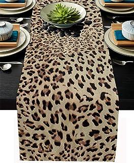 T&H XHome Linen Burlap Table Runner Dresser Scarves, Leopard Print Table Runners for Family Dinners or Gatherings, Indoor ...