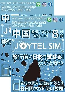 【世界的SIMブランド・信頼のJOYTEL】中国・香港・マカオ・台湾8日間 データ通信使い放題SIM/日本国内で接続確認できるから安心・2枚セット
