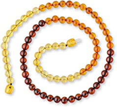 Adult Baltic Amber Necklace With Certified Amber Beads -Rainbow Color - Exclusive Round Beads