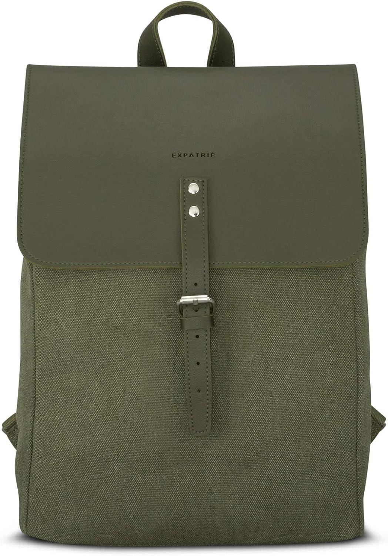 "Backpack Canvas Leather Women  Expatrié ""Anouk"" Small Stylish Vintage Daypack"