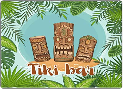 Teepel Play Area Rug Farmhouse Area Rug Poster Bar Traditional Hawaiian Surrounded by Framework of Tropical Leaves Idols a 3X5 for Living Room and Bedroom Home Decoration Rugs