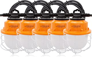 Maxxima Heavy Duty LED Construction String Light, 10,000 Lumens 100 Watts, 50 Ft, Linkable, 5000K Daylight