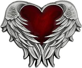 PinMart Antique Nickel Heart with Angel Wings Enamel Lapel Pin