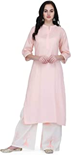 Pret A Porter Pink Colored Cotton Designer Kurti With Palazzo Pants (Stitched)