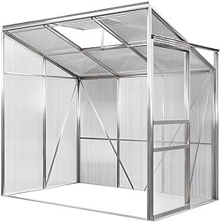 Deuba Invernadero de pared de aluminio 3,65m³ 192x127cm vivero lateral huerto de medio de jardín para plantas verduras