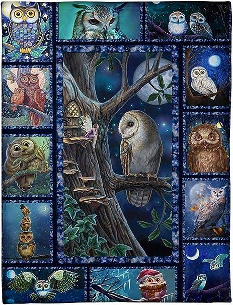 Details about  /Owl Fleece Blanket Lovely Cute Owl Quilt