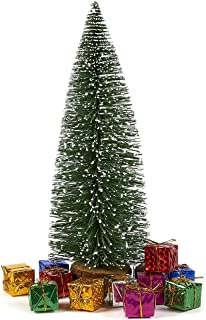 Juvale Sisal Tree with 12 Miniature Gift Boxes - Mini Tree - Christmas Miniature Tabletop Decoration, 13 x 4.4 x 4.5 Inches