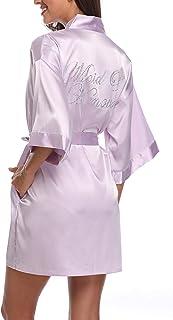 SUGAR JAN Women's Silk Bride Bridesmaid Robes for Wedding with Rhinestones Satin Dressing Gown Sleepwear with Pockets