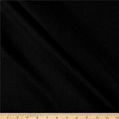 Tuva Textiles Solid Wool Blend Gabarine Fabric, Black, Fabric By The Yard