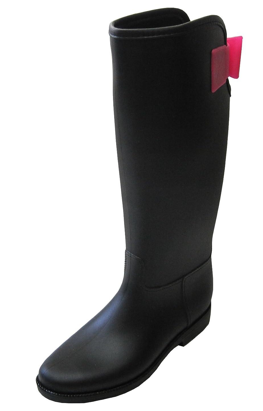 震えトロリーバススタジオ【NO BRAND レディース レインブーツ 長靴 ブラック ピンク リボン
