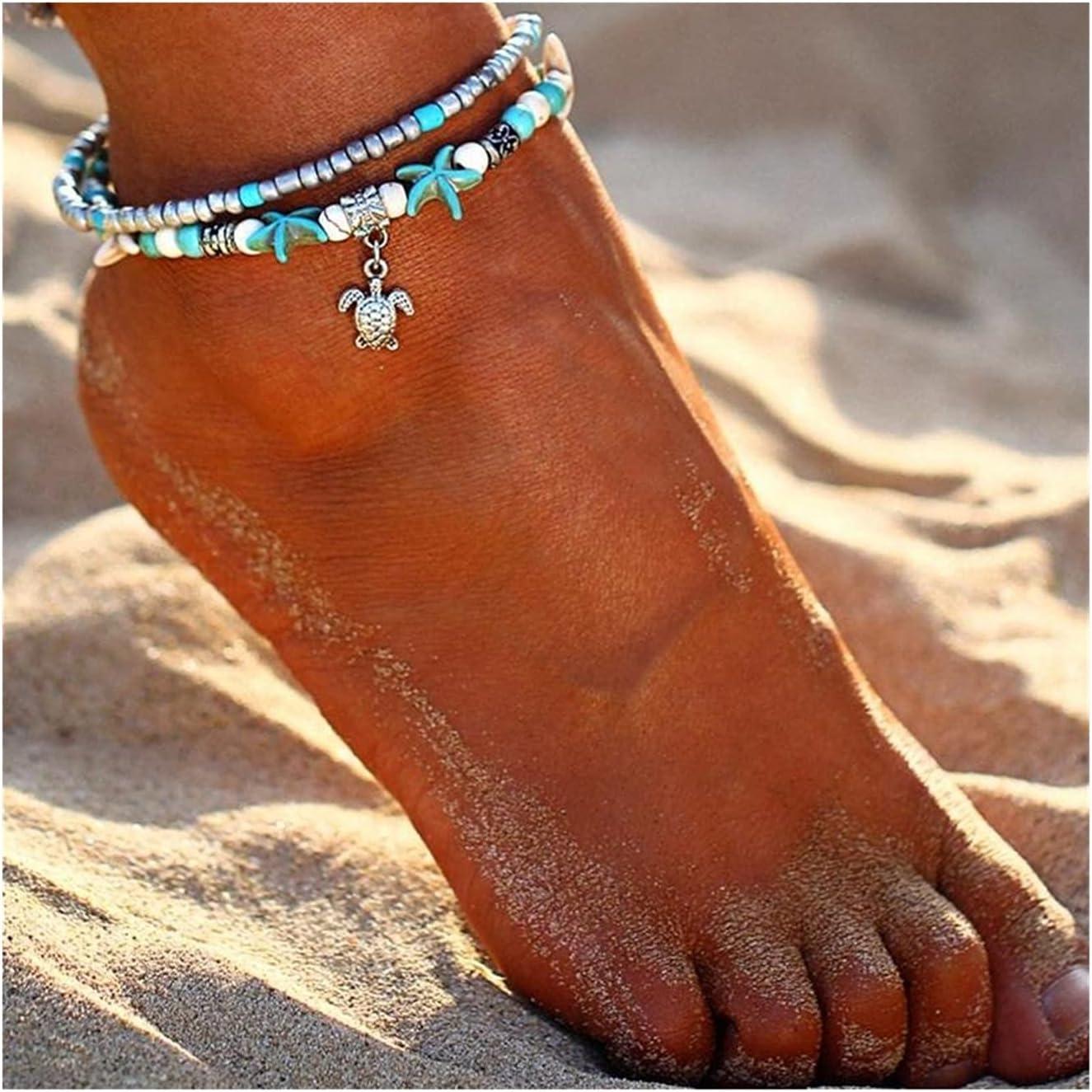 ZYQXB Sea Turtle Starfish Beach Shell Leg Anklet Anklet Women's (Metal Color : Sea Turtle)