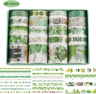 Washi Tape Set, 20 Rolls Washi Masking Tape, Multi-Pattern Decorative Washi Tape, DIY Decor Label for DIY, Journals, Album, Daily Planners, Gift Wrapping, Office Party Supplies (Green)