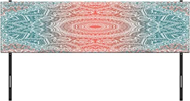 Ambesonne Coral and Teal Headboard, Modern Tribal Mandala Tibetan Healing Motif with Floral Geometric Ombre Art, Upholstered