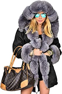 c2f9d7c2ae6c Roiii Women's Warm Winter Coat Hood Parka Overcoat Faux Fur Parka Jacket  Outwear