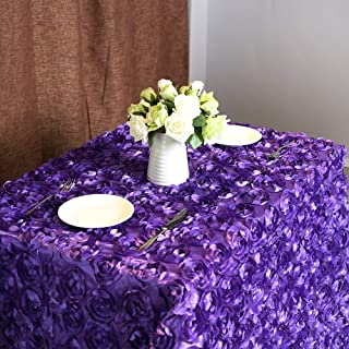 Fanqisi Rosette Tablecloth 50 x102 Inches Purple 3D Floral Tablecloth Satin Rosette Table Cover Linens for Wedding Birtyday Events Home Table Decor