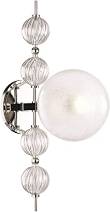 Hudson Valley Lighting 6400-PN カリプソ 1ライト 壁取り付け用燭台 光沢ニッケル仕上げ
