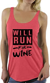Awkward Styles Women's Will Run for Wine Graphic Racerback Tank Tops Funny Running Saying