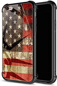 CARLOCA iPhone 6S Case,Gold Retro USA Flag iPhone 6 Cases for Girls Boys,Graphic Design Shockproof Anti-Scratch Hard Back Case for Apple iPhone 6/6S