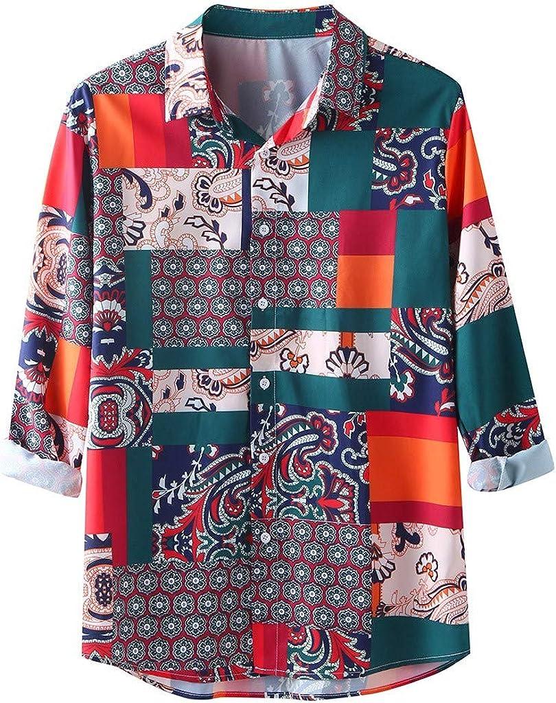Men's Ethnic Style Hawaiian Loose Slim Patchwork Long Sleeve Dress Shirt Blouse Tops