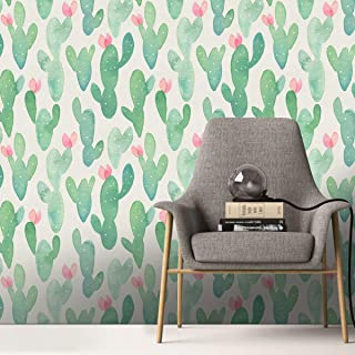ZHOUHAOMAOYI Cactus Plant Background Wallpaper self-Adhesive Living Room Bedroom,Removable Wallpaper Peel & Stick Wallpaper Waterproof,Oil Proof for Bedroom,Living Room,Kitchen and Bathroom Walls