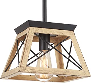 Henveton Rustic Farmhouse Pendant Light, 1 Light Vintage...