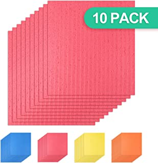 Healon Kitchen Sponge Cloth Eco Friendly Euro Magic Cleaning Sponge Cloth Multi-Use Reusable Washcloths Dishcloths 10pcs Red