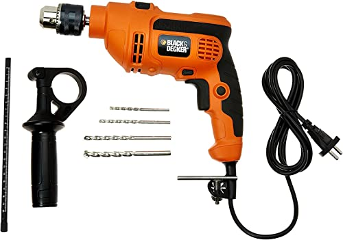 BLACK+DECKER KR554RE 550W 13mm Variable Speed Reversible Hammer Drill Machine with 4 Drill Bits