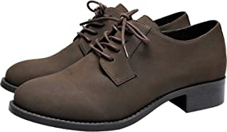 Women's Wide Width Oxfords - Classic Flat Lace Up Urban Formal Shoes.(181168,Dark Brown,10.5)